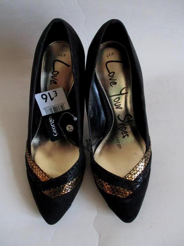 Нарядные туфли лодочки с золотистыми вставками на шпильке george