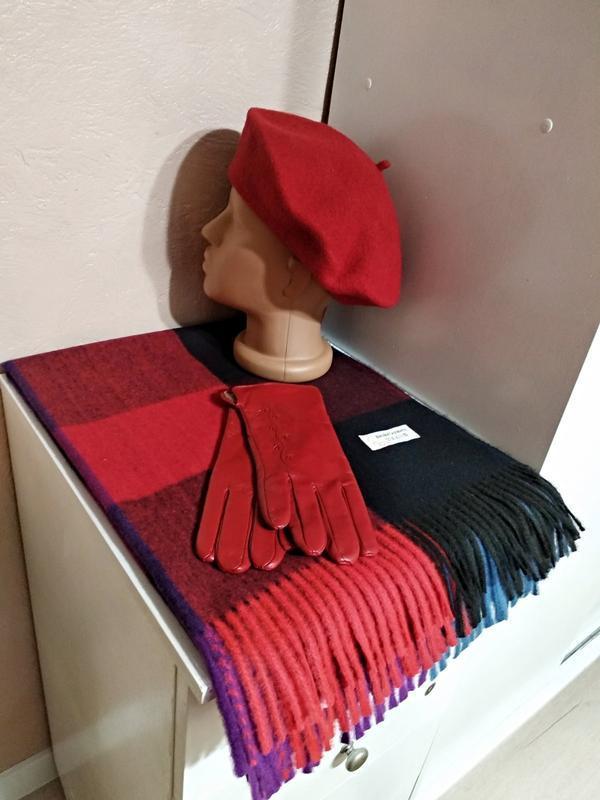 Комплект чешский фетровый берет tonak, шарф палантин в клетку ...