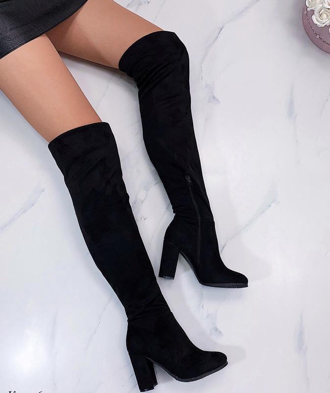 Новые шикарные женские демисезонные черные сапоги ботфорты на ...