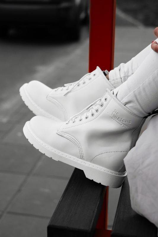 Dr. martens 1460 white fur шикарные женские зимние ботинки с м...