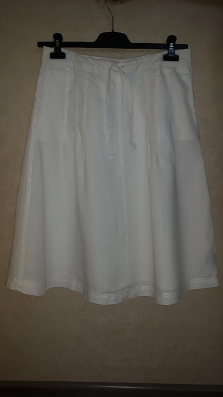 Красивая белая льняная юбка, 100% лен