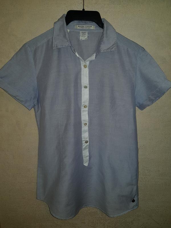 Стильная блуза рубашка тенниска maison scotch шелк с хлопком