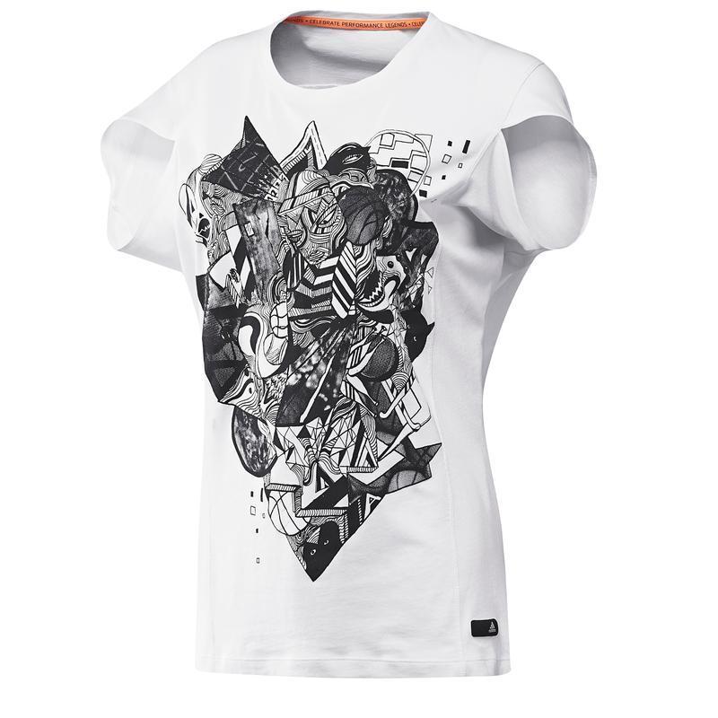 Белая футболка adidas, оригинальный фасон