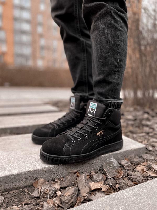 Puma winter boot мужские зимние кроссовки с мехом чёрные зима