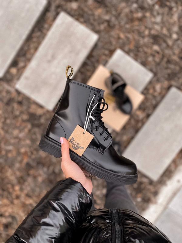 Dr. martens 1460 black fur зимние женские ботинки с мехом чёрн...