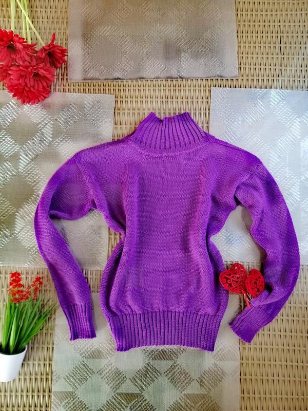 Тёплый красивый зимний свитер oversize ручной работы фиолетовый