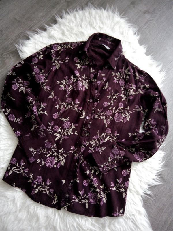 Португалия  фирменная  блуза-рубашка цвет марсала в цветочный ...