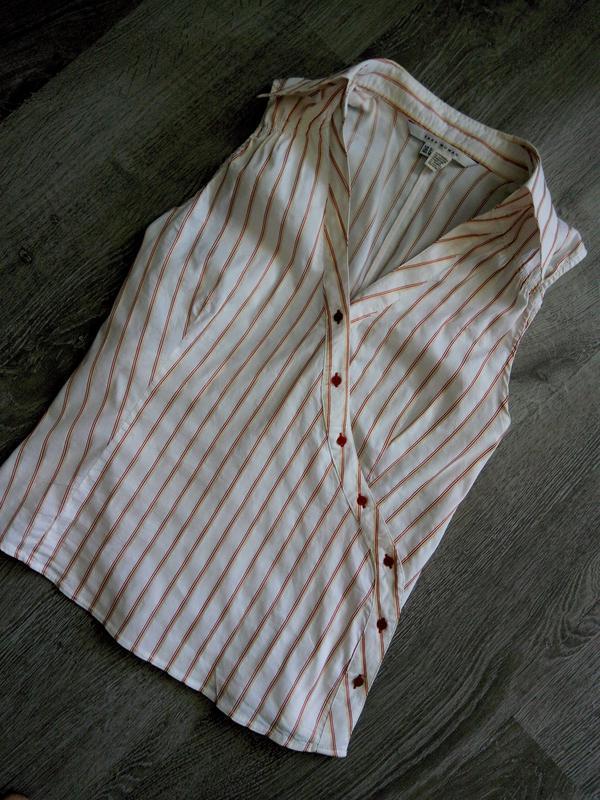 Стильная коттоновая  блуза топ в полоску с v вырезом,на запах,...