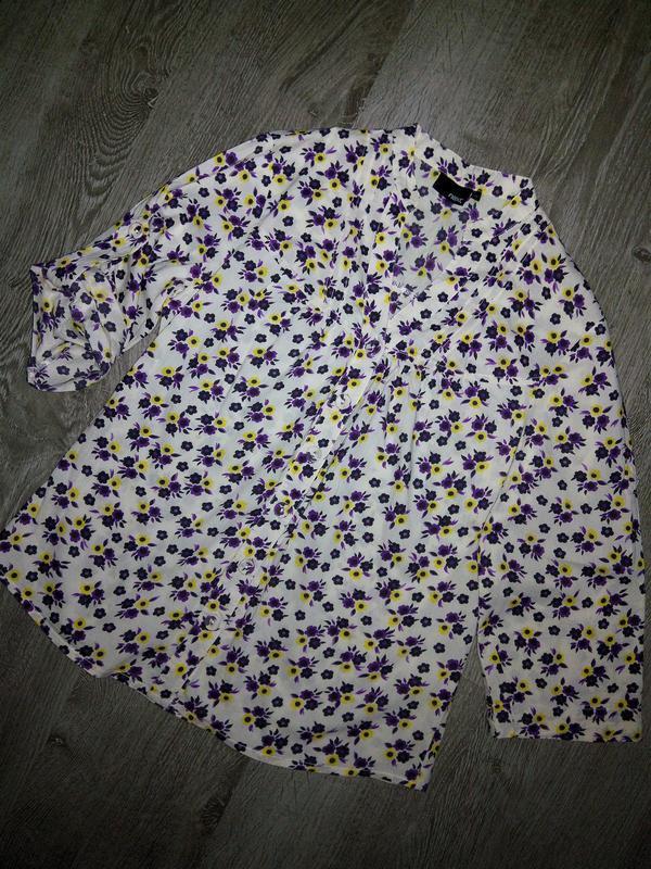 Лёгкая весенняя коттоновая блуза-рубашка в цветочный принт от ...
