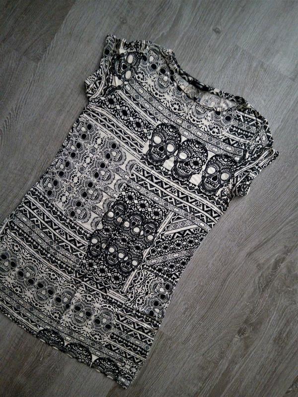 Лёгкое натуральное платье-туника ,принт черепа от george