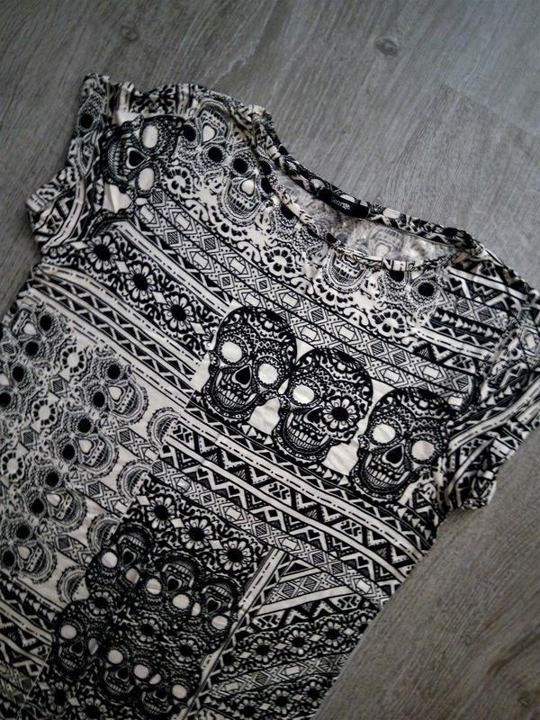 Лёгкое натуральное платье-туника ,принт черепа от george - Фото 2