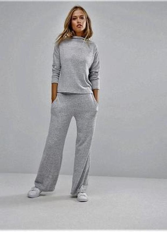 Натуральные  широкие штаны брюки  серый меланж - Фото 2