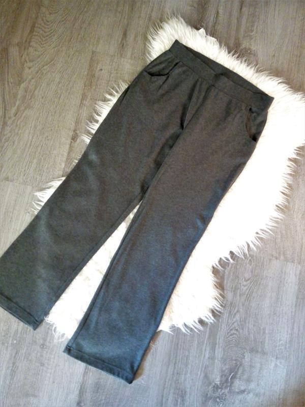 Натуральные  широкие штаны брюки  серый меланж