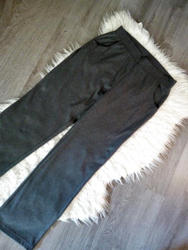 Натуральные  широкие штаны брюки  серый меланж - Фото 3
