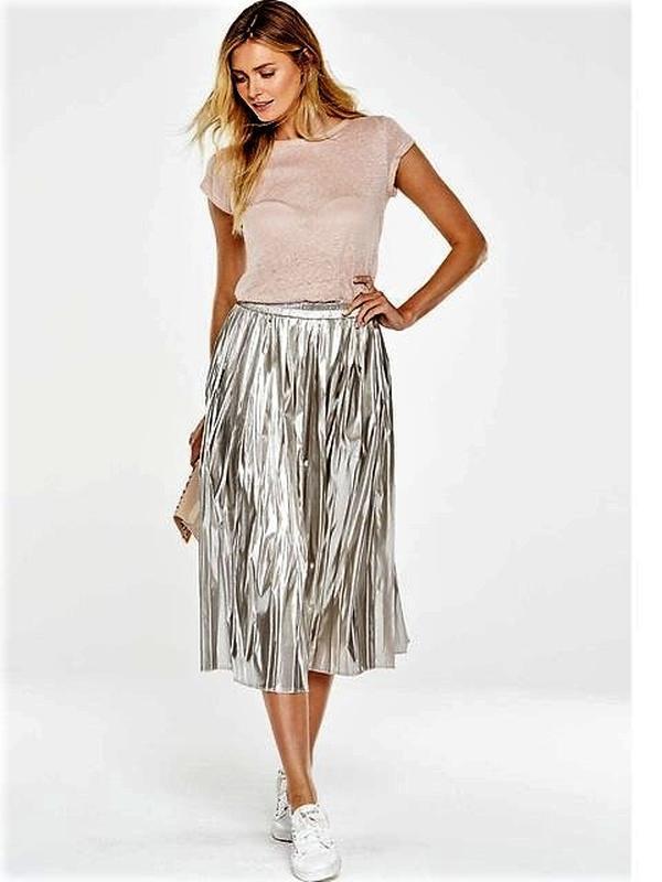 Трендовая металлизированная юбка плиссе серебро от v by very😍