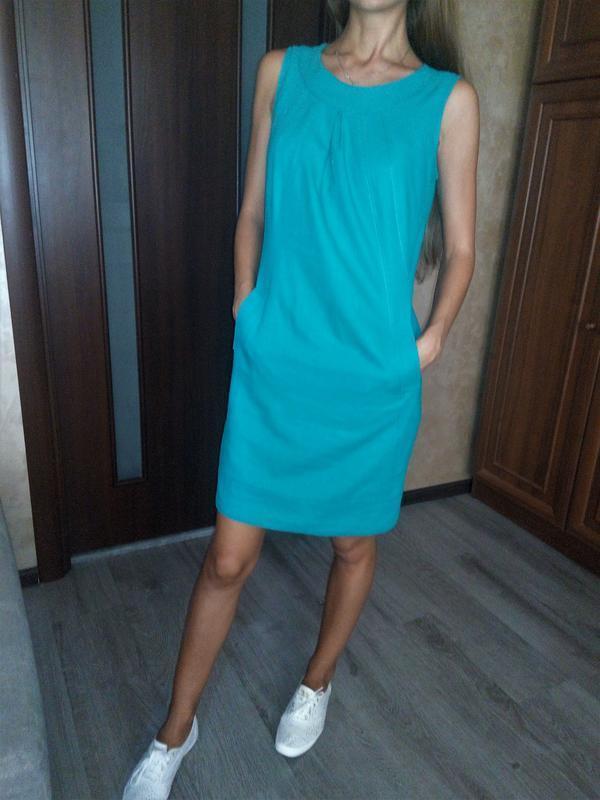 Невероятное бирюзовое платье-лён