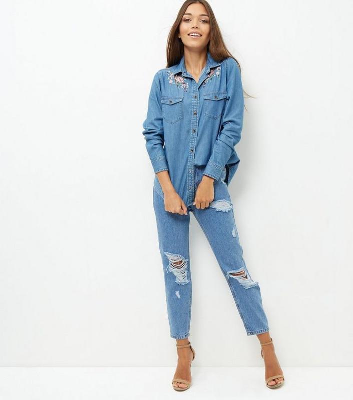 Бомбовая💣 стильная джинсовая рубашка с вышивкой цветы,tu