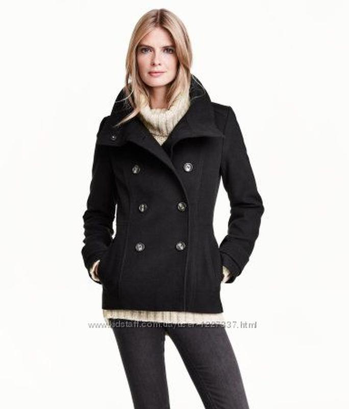 Базовое тёплое двубортное шерстяное пальто бушлат