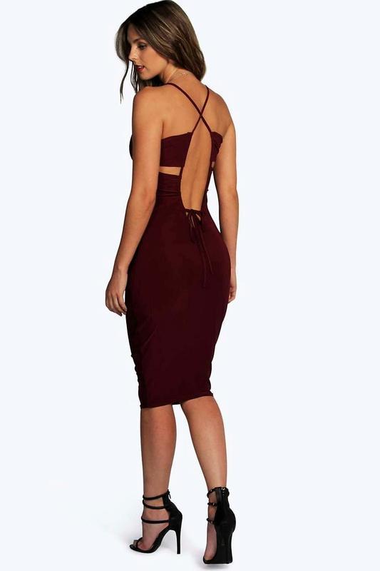 Облегающее платье миди цвета марсала🔥с красивой спинкой💣s-m