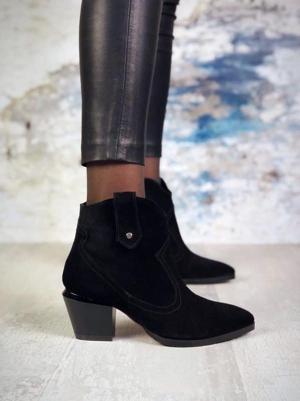 ❤ женские черные зимние замшевые ботинки сапоги ботильоны на м...