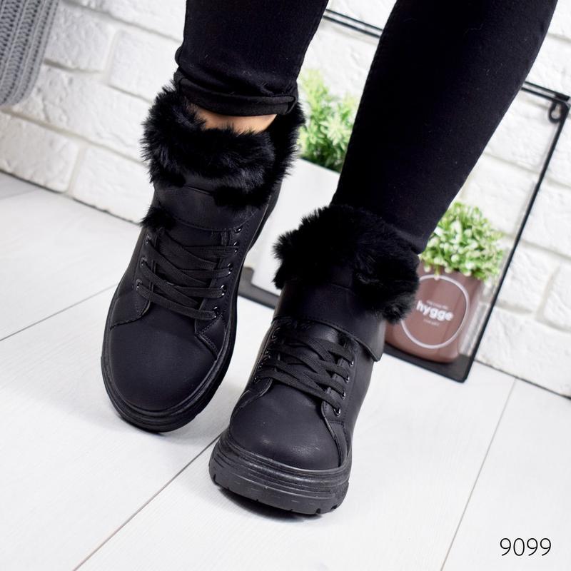 ❤ женские черные зимние кроссовки ботинки сапоги ботильоны на ...