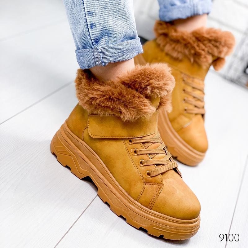 ❤ женские коричневые зимние  ботинки сапоги ботильоны на меху ❤