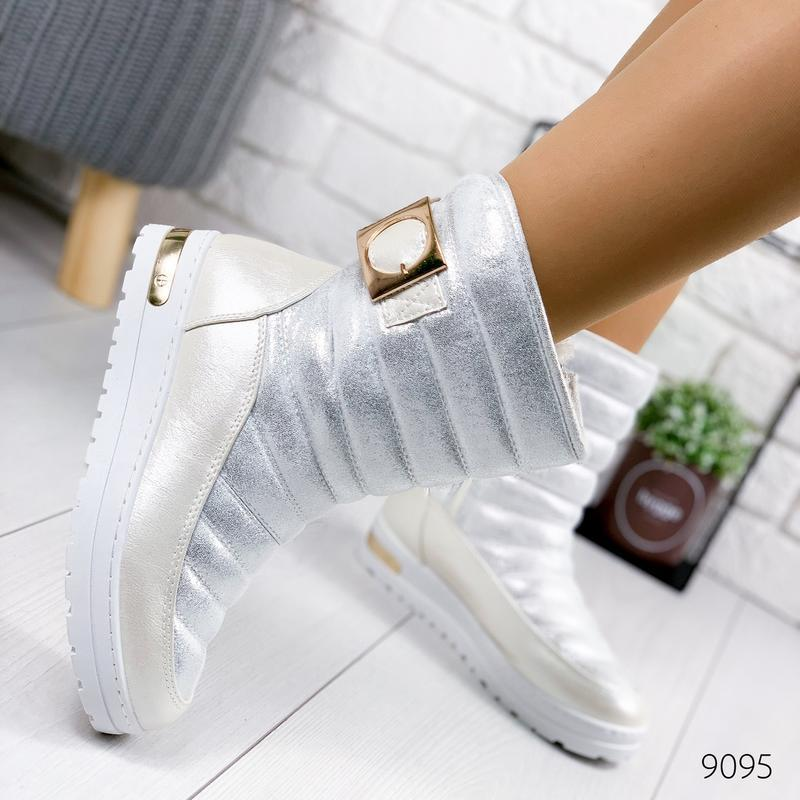 ❤ женские белые зимние дутики ботинки сапоги ботильоны на меху ❤