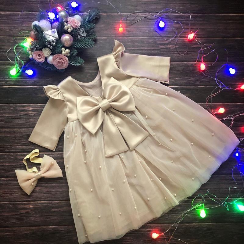 Нарядное платье с крылышками и бусинами на годик