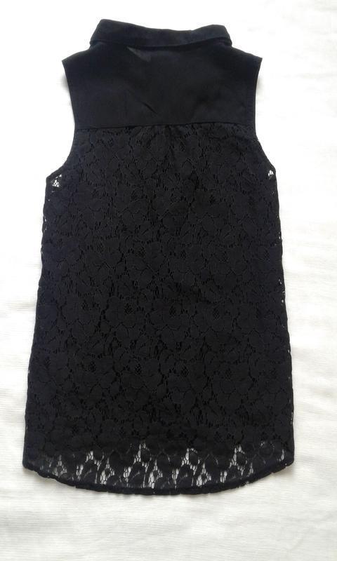 Черная шифоновая блуза zebra с гипюровой кружевной спиной