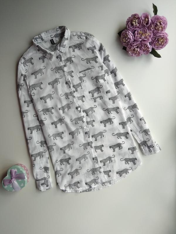 Рубашка бойфренд в принт от h&m