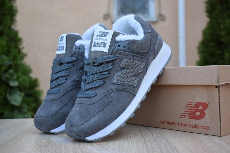 New balance 754 grey женские зимние кроссовки с мехом серые