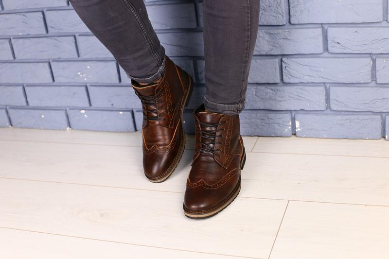 Lux обувь!😍зимние натуральные мужские ботинки оксворд  40-45р - Фото 3