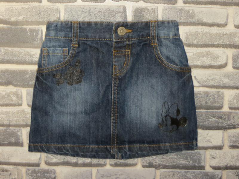 Джинсовая юбка для девочки с рисунком ручной работы