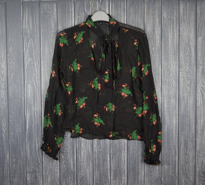 ❄распродажа!❄  новая черная цветочная блуза с длинным рукавом ...