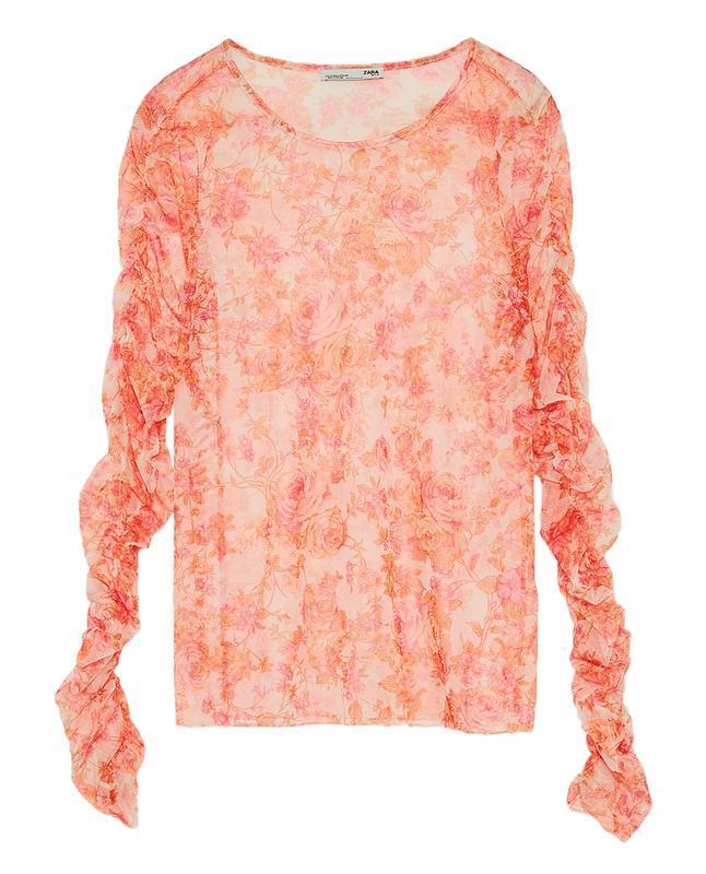 ❄распродажа!❄ красивая полупрозрачная блуза в цветы от zara