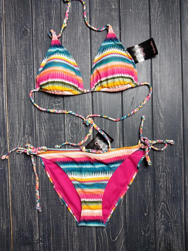 🍁осенний sale! 🍂  полосатый купальник на завязках от hunkemoller