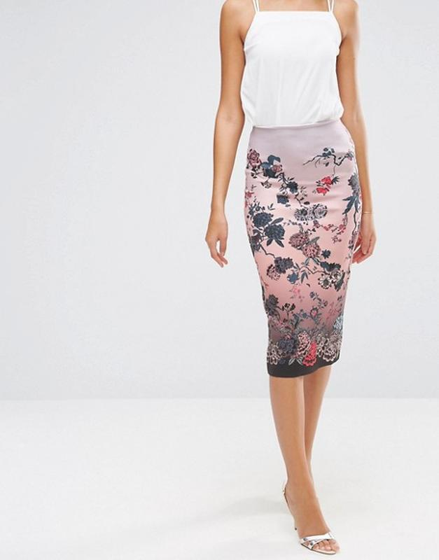 ❄распродажа!❄  неопреновая юбка-карандаш в цветы от asos