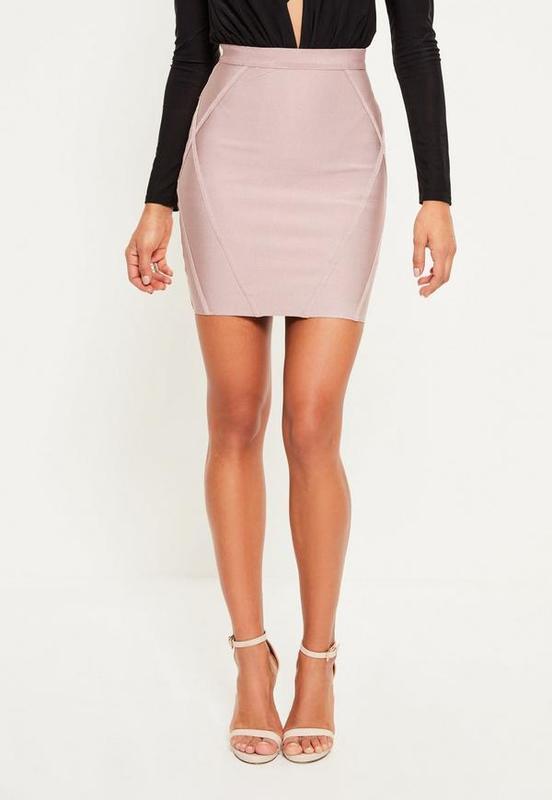 ❄распродажа!❄  короткая бандажная юбка в нежном оттенке от mis...