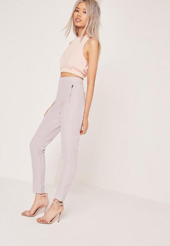 ❄распродажа!❄ лилово-серые штаны, брюки с молниями от missguided