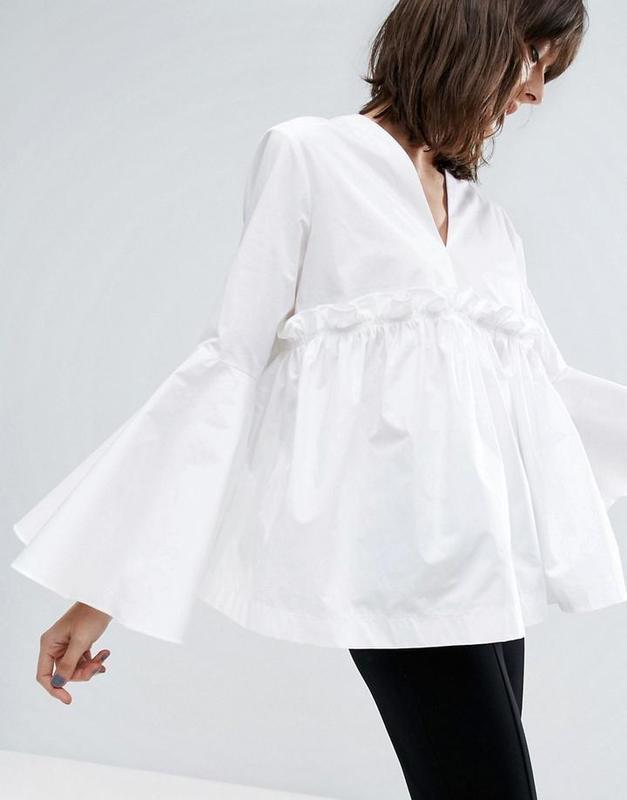 🍁осенний sale! 🍂 белая блуза, рубашка с рукавами-воланами от asos