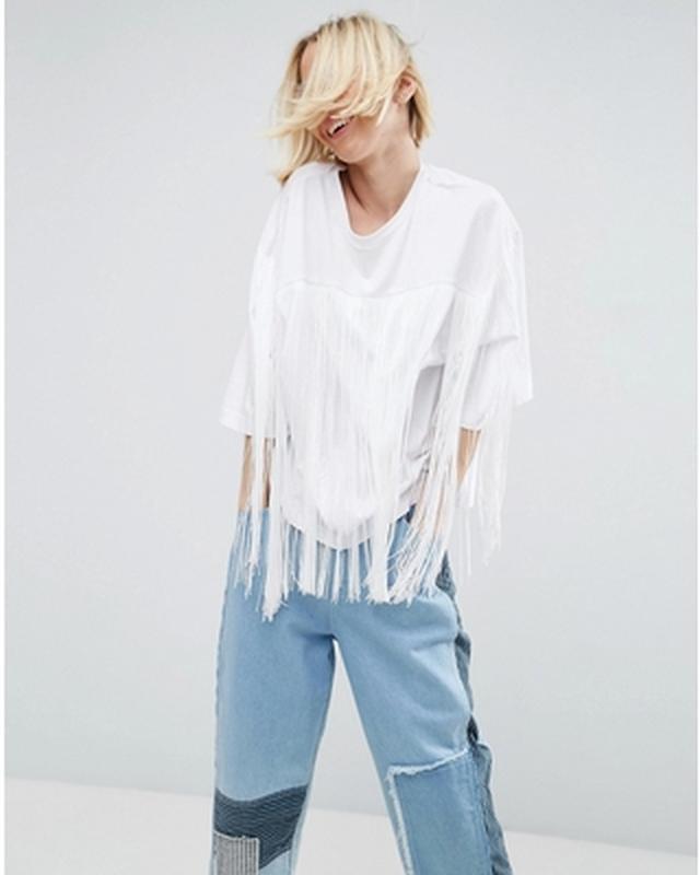 ❄распродажа!❄  крутая белая футболка с бахромой от asos