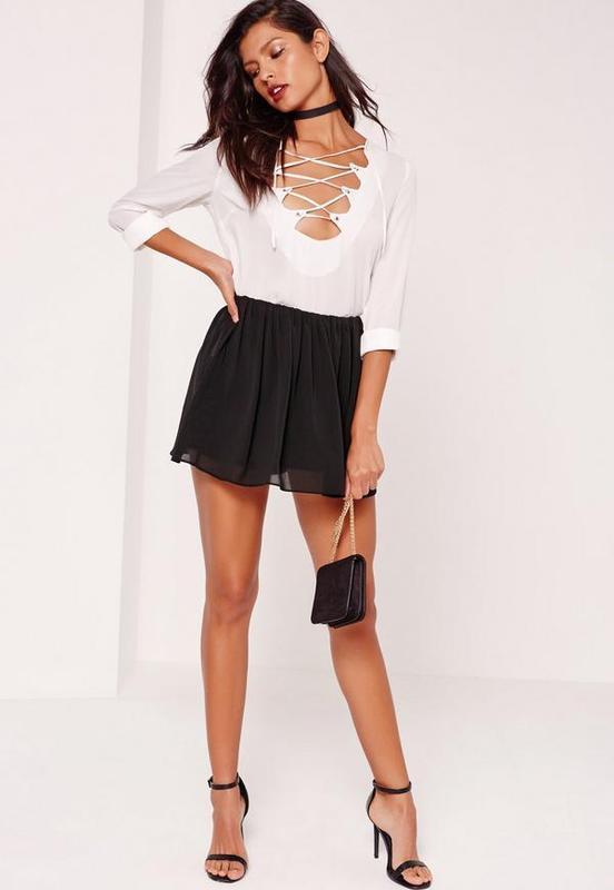 ❄распродажа!❄ легкие черные шорты-юбка от missguided
