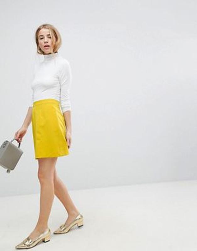 ❄распродажа!❄  новая горчичная короткая юбка от asos