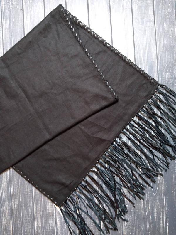 ❄распродажа!❄ черный шарф, палантин с отделкой из экокожи от h&m
