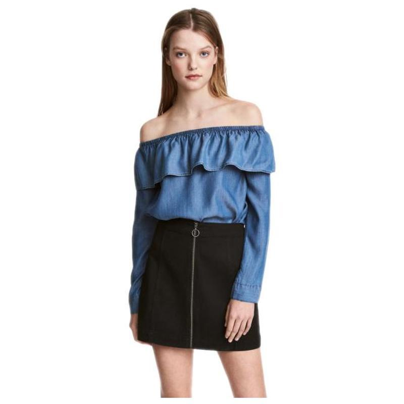 ❄распродажа!❄ синяя юбка-трапеция на молнии под замшу от h&m