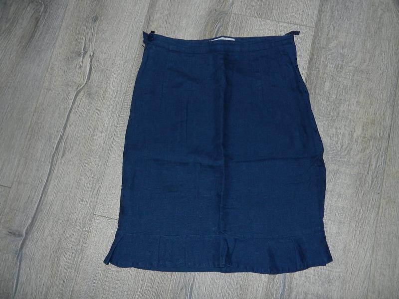 Upsylon,бельгия! летняя синяя льняная юбка,лен