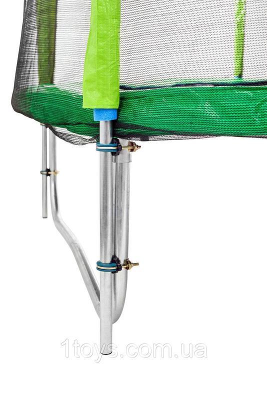 Батут Atleto 252 см с двойными ногами с сеткой зеленый - Фото 2