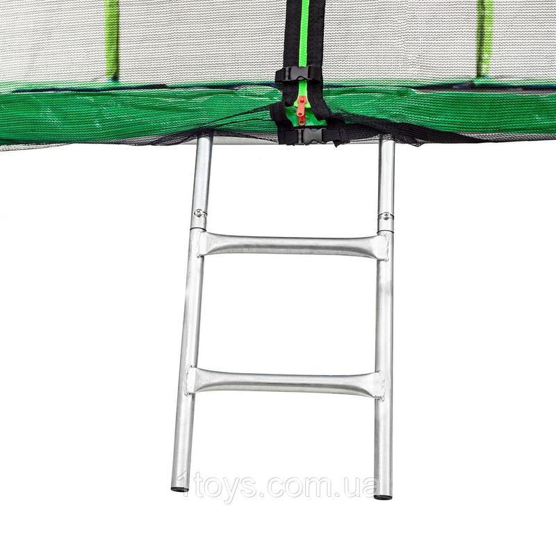 Батут Atleto 252 см с двойными ногами с сеткой зеленый - Фото 3