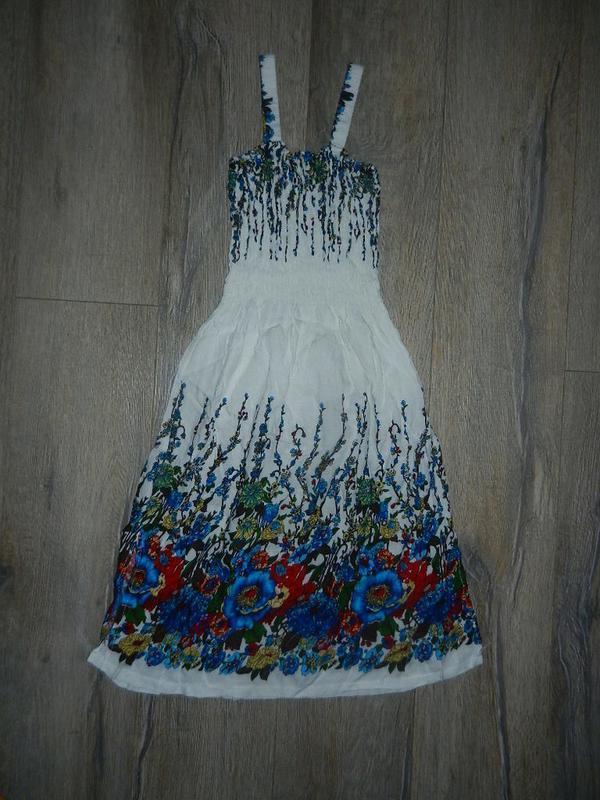 Xs/36 белый сарафан, пляжная туника платье хлопок, rayon, новый