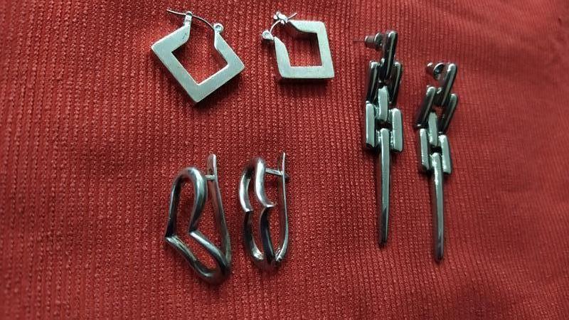Набор серёг, сережки, цвет металлик